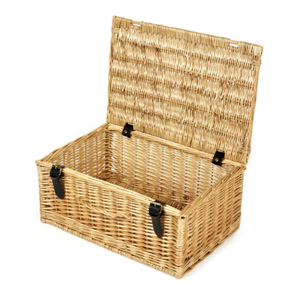 18 Inch Wicker Hamper Gift Basket - Open